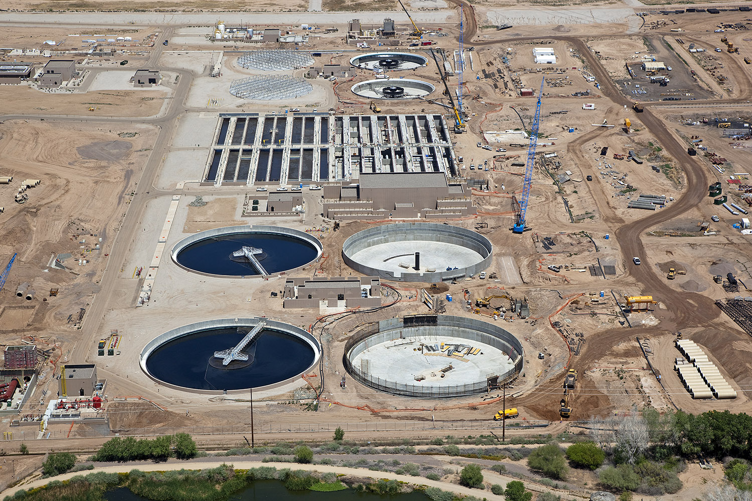 Large construction project at a waste water treatment plant